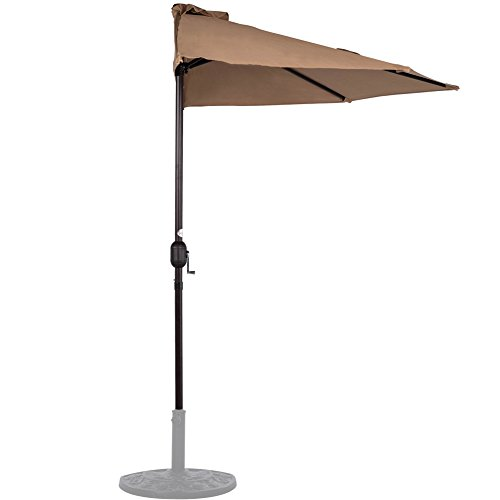Sundale Outdoor 9 Feet Steel Half Umbrella Table Market Patio Umbrella with Crank and Strap for Garden, Deck, Backyard, Pool, 5 Steel Ribs, 100% Polyester Canopy (Tan)