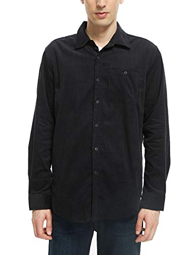 APRAW Men's Outdoor Shirt Standard-Fit Long-Sleeve Corduroy Shirt (Large, Black)