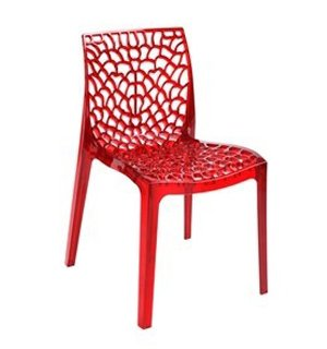 N 4 Chaises Polycarbonate Transparent Chaise Design Gruyver Type Kartell Rouge