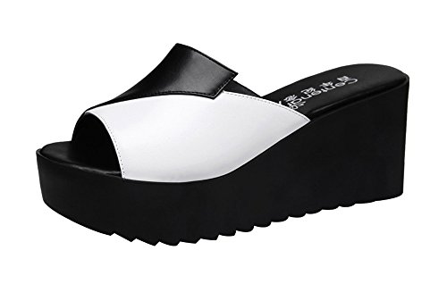 T&Mates Women's Fashion Casual Peep-Toe Wedges Heel Sandals (8 B(M)US,black)
