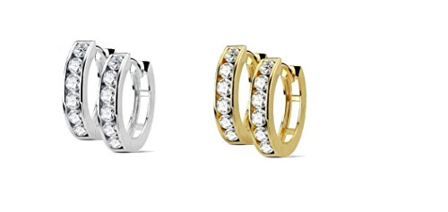 Small Huggie Hoop Earrings in Surgical Steel Silver and Gold plated Men Women Children With1 Row Of Cubic Zirconia (1 GOLD & 1 SILVER)
