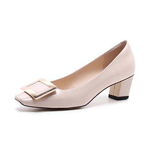 39 Alto de Tacón 36 Color Zapatos Blanco Tallas Tamaño Sandalias de Tacón Cuadrado Negro 34 Rosado Rosa Marrón xSqIOBIn