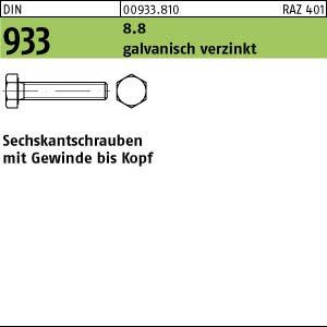 25 Sechskantschrauben DIN 933 8.8 verzinkt M20x80