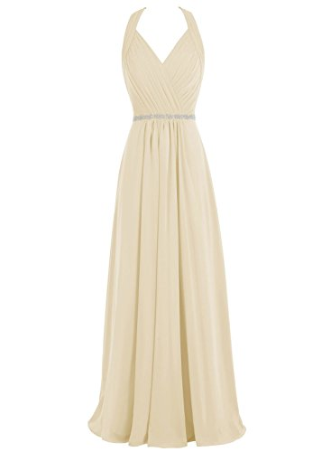Chiffon Beaded Long Halter Gown - 1