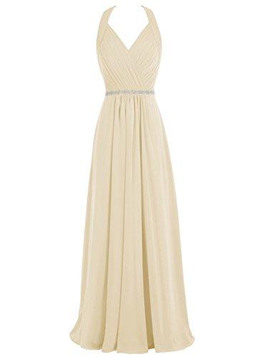 Chiffon Beaded Long Gown - 1