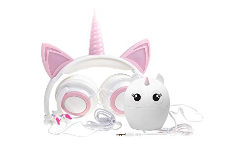 Gabba Goods 3 Piece Gift Set Premium LED Light Up in The Dark Unicorn Over The Ear Earphones Comfort Padded Stereo Headphones AUX Cable | Ear Buds & Bluetooth Stereo Speaker ()