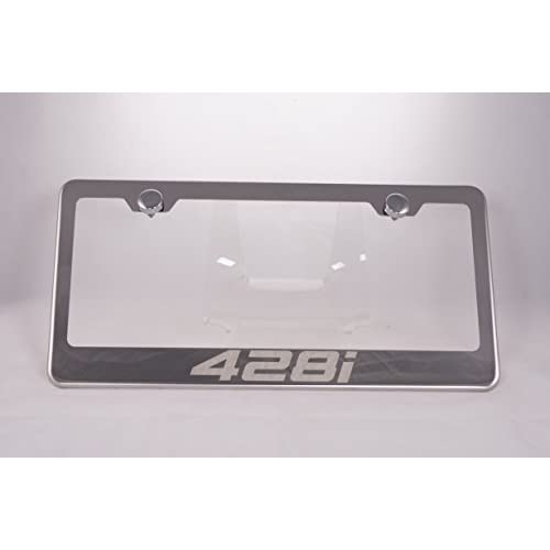 428i Laser Engraved Chrome License Plate Frame with Caps for cheap