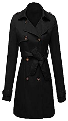 Yayu Women's Fashion Trench Coat Double-Breasted Hooded Overcoat with Belt