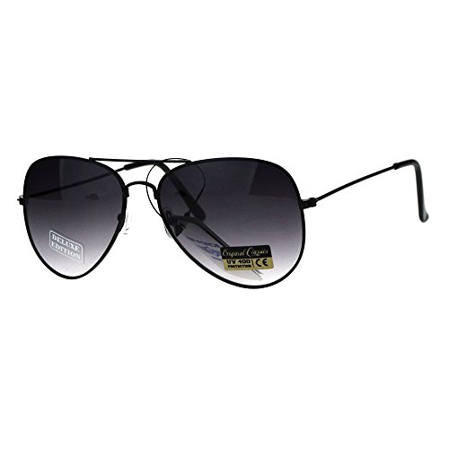 Air Force Mens Metal Wire Rim Gradient Lens Police Aviator Sunglasses Black - Men Gradient Sunglasses