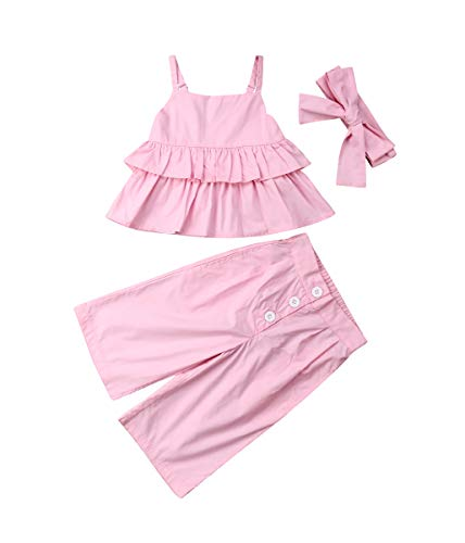 VISGOGO 1-6 Yrs Toddler Baby Kid Girl Outfit Halter T-Shirt Top + Flared Pants Clothes Set (Pink, 2-3 Years)