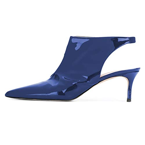 on Women Slip Dress Pointed YDN Blue Shoes Pumps Sandals Heel Toe Mid Slingback Stiletto Sxapx4qw8