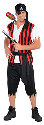 Mens Pirate Scoundrel Black Red TV Book Film Carnival Halloween Fancy Dress Costume Outfit STD & Plus Size (Plus Size) -