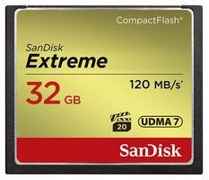SanDisk SDCFXSB-032G-G46 - Tarjeta de Memoria Compact Flash de 32 GB (Velocidad de Lectura de 120 MB/s, Velocidad de Escritura de 85 MB/s, UDMA 7), ...