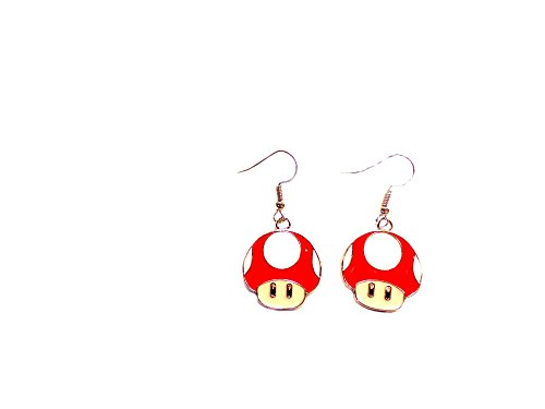 [Dangle Earrings Super Mario Mushroom In Gift Box by J&C Family Owned] (One Up Mushroom Costume)