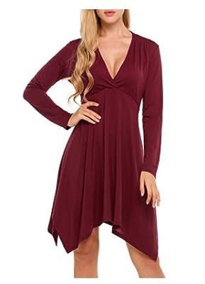 Vogcos Women's Long Sleeve Casual Loose Tunic Tshirt Dress Top Cute