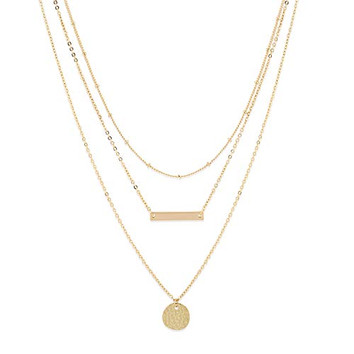 LOYATA Bohemia Layered Necklace, 14K Gold Plated Bar Coin Charm Pendant Neckalce Delicate Station Chain Multilayer Choker Necklaces for Girls