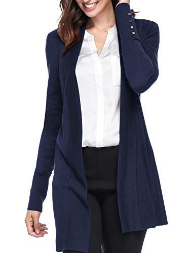 Spicy Sandia Open Front Knit Cardigans for Women Lightweight Cover-up Long Sleeve Cardigan Sweaters, Navy, Small