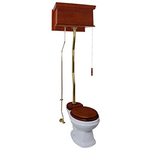 High Tank Pull Chain (Mahogany High Tank Pull Chain Toilet White Elongated Brass | Renovator's Supply)