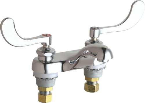 Chicago Faucet 152843 Sink Faucet, Deck Mounted 4'' Fixed Center 2.2 Gpm Wrist blade Handles Lead Free, 5.6'' x 11.4'' x 6.4''