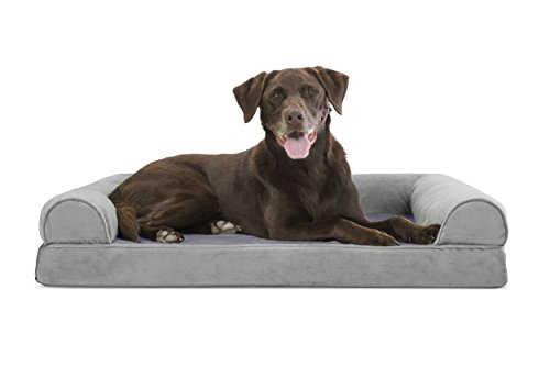 FurHaven Ultra Plush/Velvet Orthopedic Dog Couch Sofa Bed for Dogs and Cats, Velvet Smoke Gray, Large