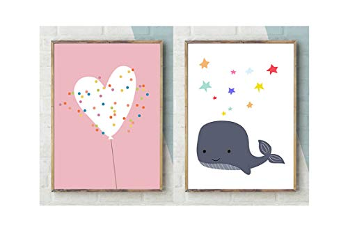 Colorful Sunlight Kids Canvas Wall Pictures Art Painting Nordic Cartoon Animal Whale Posters Baby Nursery Happy Time Wall Art Canvas Poster Print,21 x 30 cm No Frame,A B