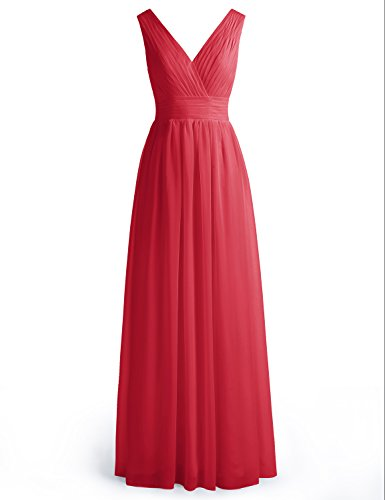 Wedtrend Women's Long Chiffon Prom Dress Double V-neck Bridesmaid Dress WT12003 Dark Red 2