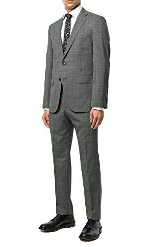 Hugo Boss Men's 'Johnstons/Lenon' Grey Slim Fit Virgin Wool Checked Suit, 40R