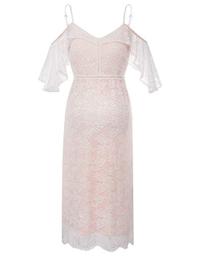 e92e670ad2681 Maternity Floral Lace Dress Evening Wedding Party Pregnancy Dress Off White