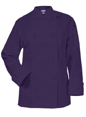 Newchef Fashion Purple Ladies Chef Coat Long Sleeves S Pu...