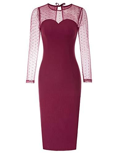 Women's Vintage Long Sleeve Pencil Dress Red Size L BP7922-2 2 Vintage Long Sleeve