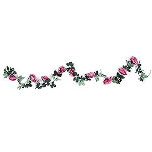 Artificial Rose Flower Fake Silk Plant Garland Vine Hanging Rattan for Home Wedding Decor(3#) 16