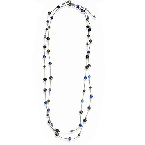XS Accessories Gorgeous Blue Beaded Long Silver Chain Station Necklace for -