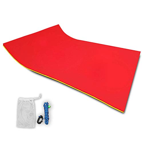 - Popsport Floating Water Mat Series Floating Foam Pad Water Recreation and Relaxing in Pool/Beach/Lake Water Floating Mat with DIY Head Pillow for Adults and Kids (Red&Yellow, 18X6FT)