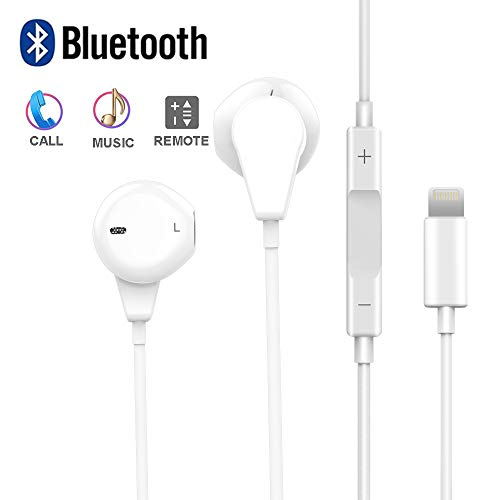 Earbuds with Mic and Volume Control, Headphones with Microphone for 7 Plus Earphones Noise Cancelling for 7 8 X XS Max XR Ear Buds (Wired Bluetooth Connectivity)