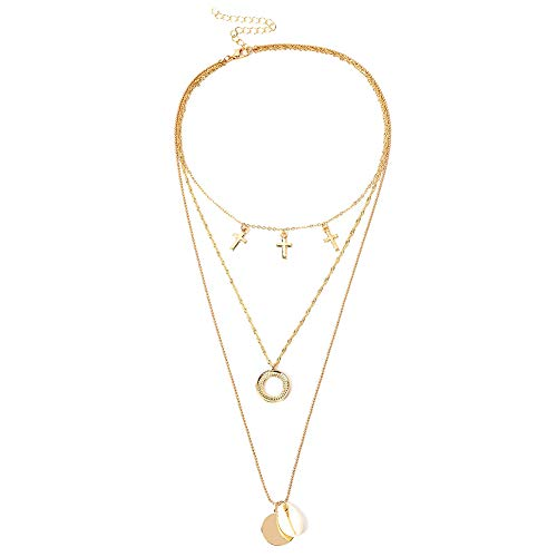 - Braceus Boho Multi-Layer Chain Cross Circle Conch Shell Pendant Women Necklace Jewelry Long Pendant Necklace Set Layer Simple Bar Necklace Tassel Y Strands for Women Layering Long Necklace Golden