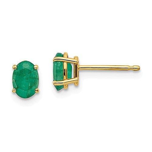 (14k Yellow Gold Green Emerald Post Stud Earrings May Birthstone Prong Gemstone Fine Jewelry Gifts For Women For)
