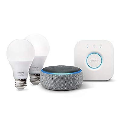 Echo Dot (3rd Gen) - Heather Gray with Philips Hue White Smart Light Bulb Starter Kit (Not for California)