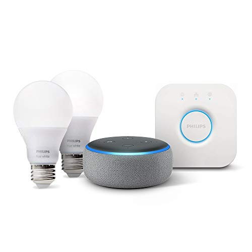 Echo Dot (3rd Gen) - Heather Gray with Philips Hue White Smart Light Bulb Starter Kit