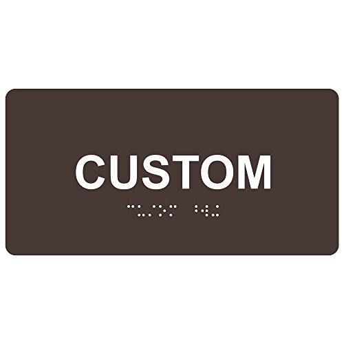 ComplianceSigns Acrylic ADA Tactile + Braille Custom Sign, 8 x 4 in. Dark Brown with Your Text by ComplianceSigns