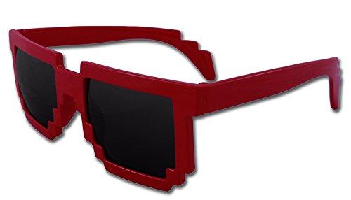 8-Bit Pixel Retro Computer Sun Glasses Nerd Sunglasses 8 Bit (Red) (Sexy Nerd Costume)