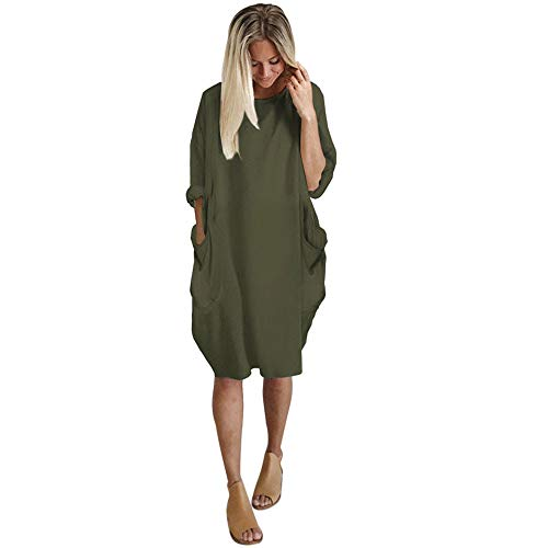 iLUGU Neutral Knee-Length Dress for Women Long Sleeve Boatneck Solid Color Pocket Long Tops Plus Size Army Green