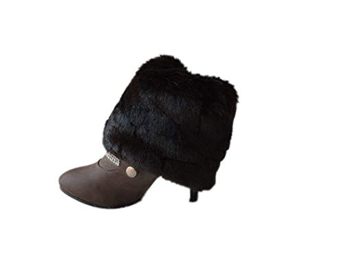 Tngan Womens Faux Fur Leg Warmers Boot Covers Furry Boot Cuff Short Boot Sleeves Black B 15cm (Sleeve Fur Faux Boot)