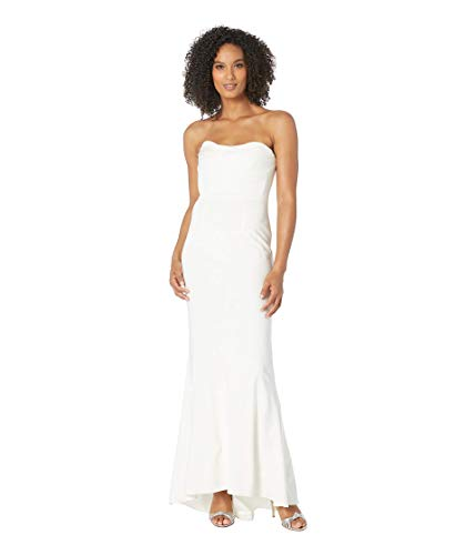 Adrianna Papell Knit Sweetheart Neckline Strapless Evening Gown Ivory 14