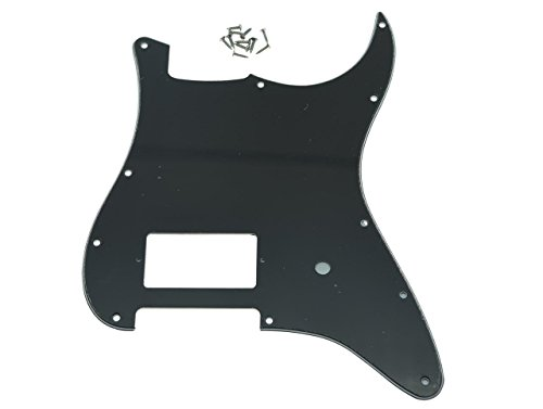 KAISH 11 Hole ST Strat One Humbucker Guitar Pickguard Scratch Plate Fits Fender Delonge Black 3 Ply