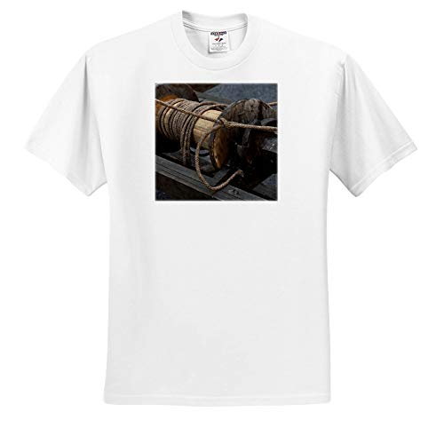 (Alexis Photography - Objects Misc. - Detail of a Vintage Wooden Pulling Hoist with a Bundle of Ropes - T-Shirts - Adult T-Shirt Medium (ts_295021_2))