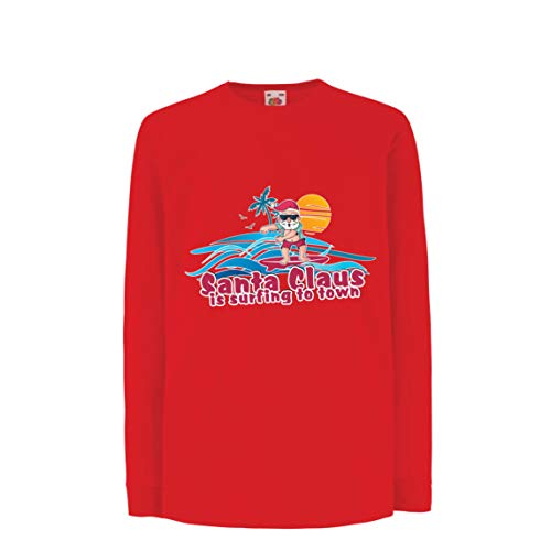 lepni.me Kids T-Shirt Santa Claus is Surfing to Town, Christmas Floss Shirt (12-13 Years Red Multi Color)]()