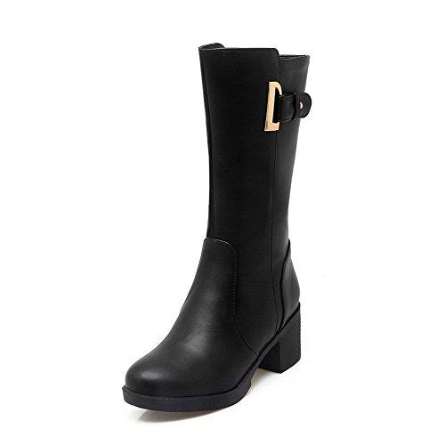 PU Mid Closed Kitten Zipper Women's top Heels Boots Allhqfashion Black Round Toe A60qFTAaw