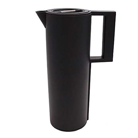 Cucina Sana 1L Design Thermoskanne/Isolierkanne, Kaffeekanne/Teekanne aus Edelstahl schwarz matt - hält bis 12h warm/kalt - BPA Frei