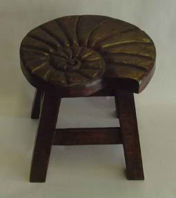 Nautilus Shell Hand Carved Wooden Foot Stool in Dark Stain Finish by In the Garden and More