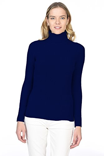 - State Cashmere Women's 100% Pure Cashmere Long Sleeve Pullover Ribbed Turtleneck Sweater